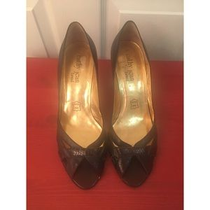 Brown leather high heels pumps shoes open toe 9